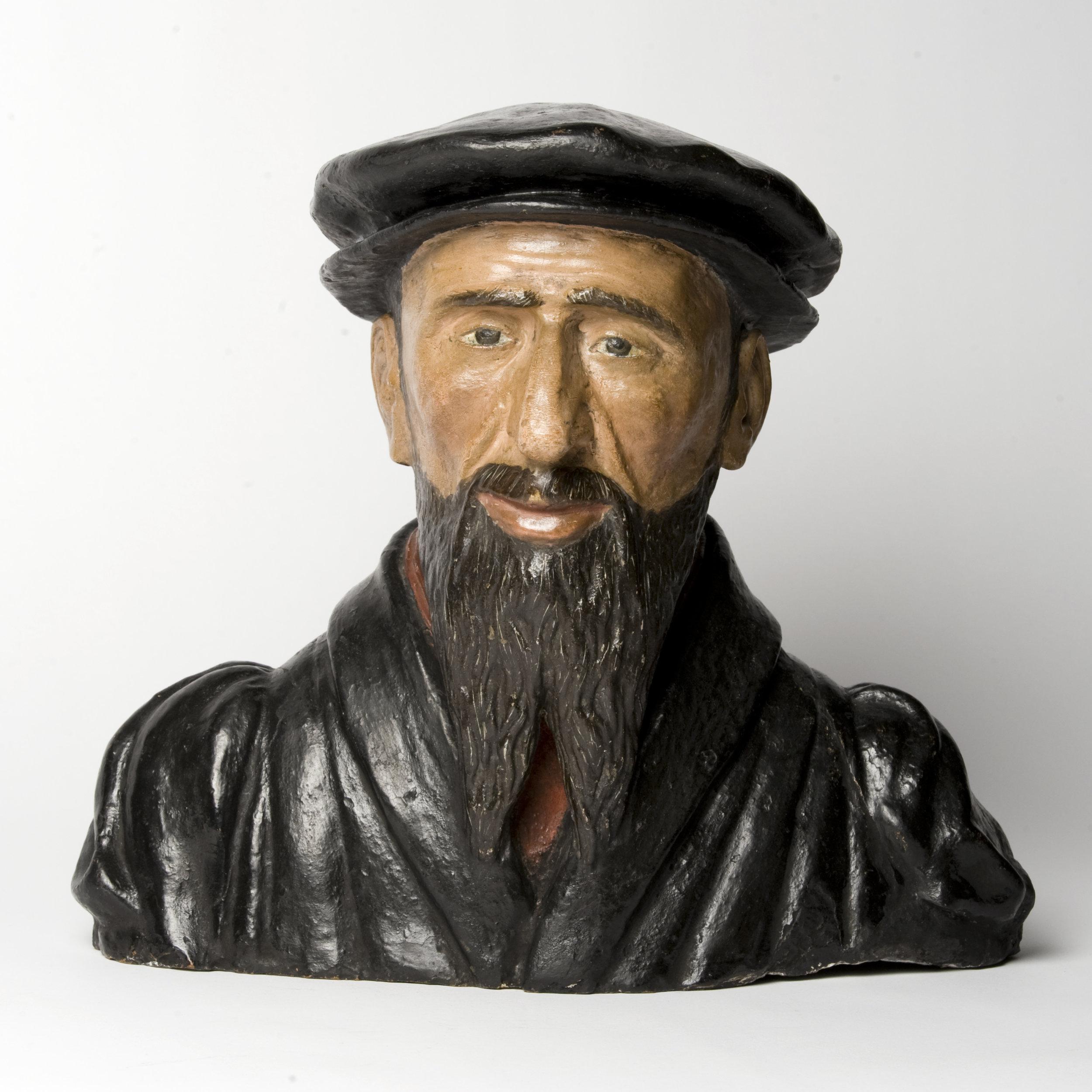 Buste de Guillaume Farel (1489-1565), 16e siècle, terre cuite demi-nature peinte