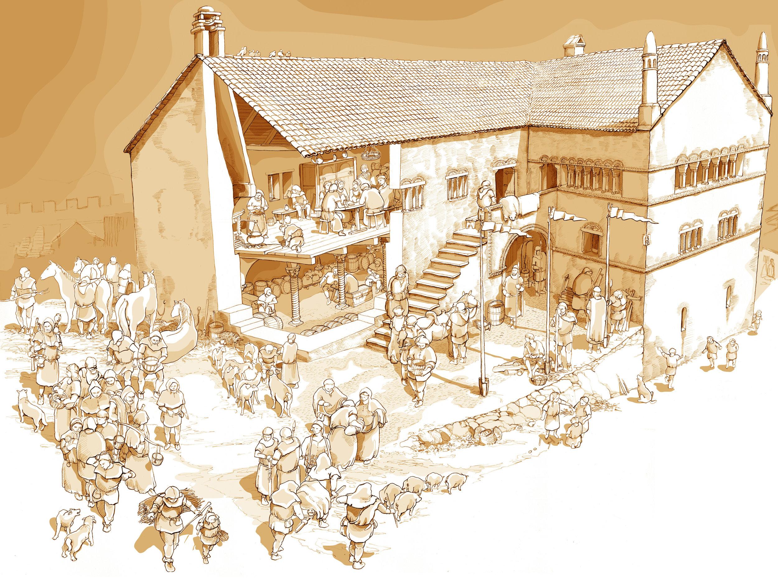 Vue de la résidence seigneuriale vers 1200, par Wilfried Trillen, dessin à la mine de plomb (2010)