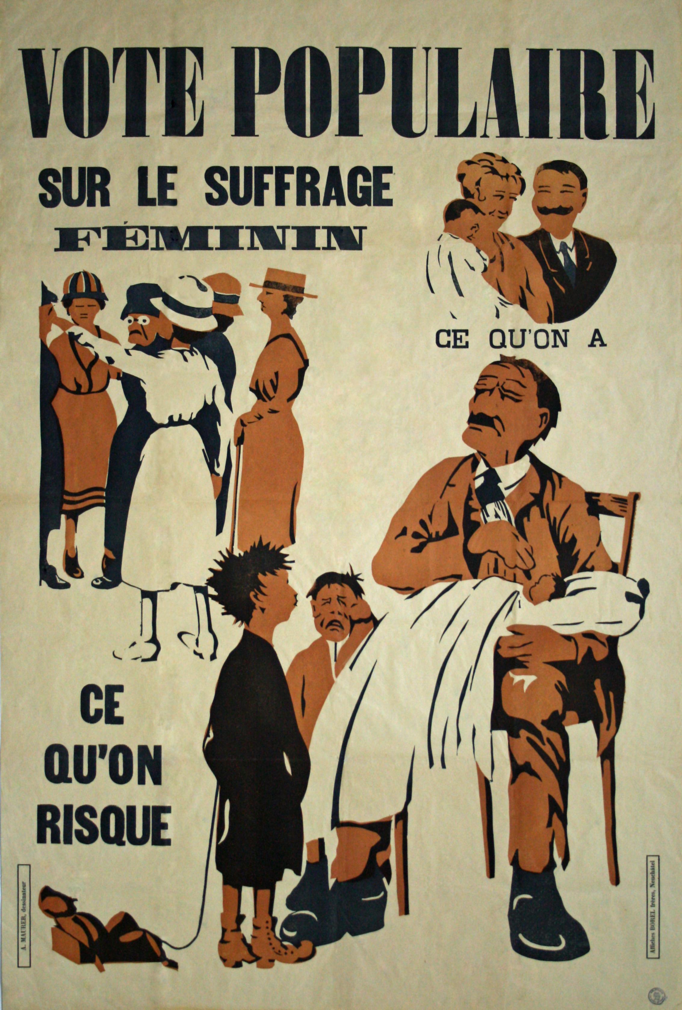 Vote populaire sur le suffrage féminin : ce qu'on a, ce qu'on risque (1919)