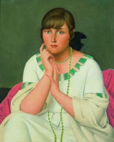 Jeune fille au collier vert , 1917, Huile sur toile, 65 x 50 cm