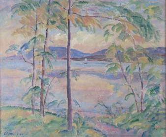 """Lac de Neuchâtel , 1916, huile sur toile. Louis de Meuron a souvent peint """"son"""" lac, à l'instar de cette toile dont les tons rosés emmènent le spectateur dans un monde paradisiaque. Un tel tableau est emblématique de l'artiste par ses couleurs, la technique et le sujet."""