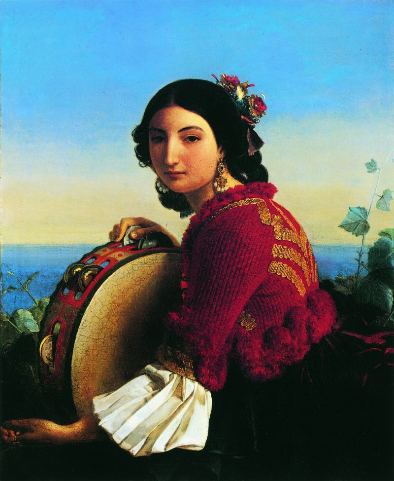 Léopold Robert,  Jeune fille de Sorrente avec un tambourin , 1824 (Huile sur toile 89 x 74 cm)