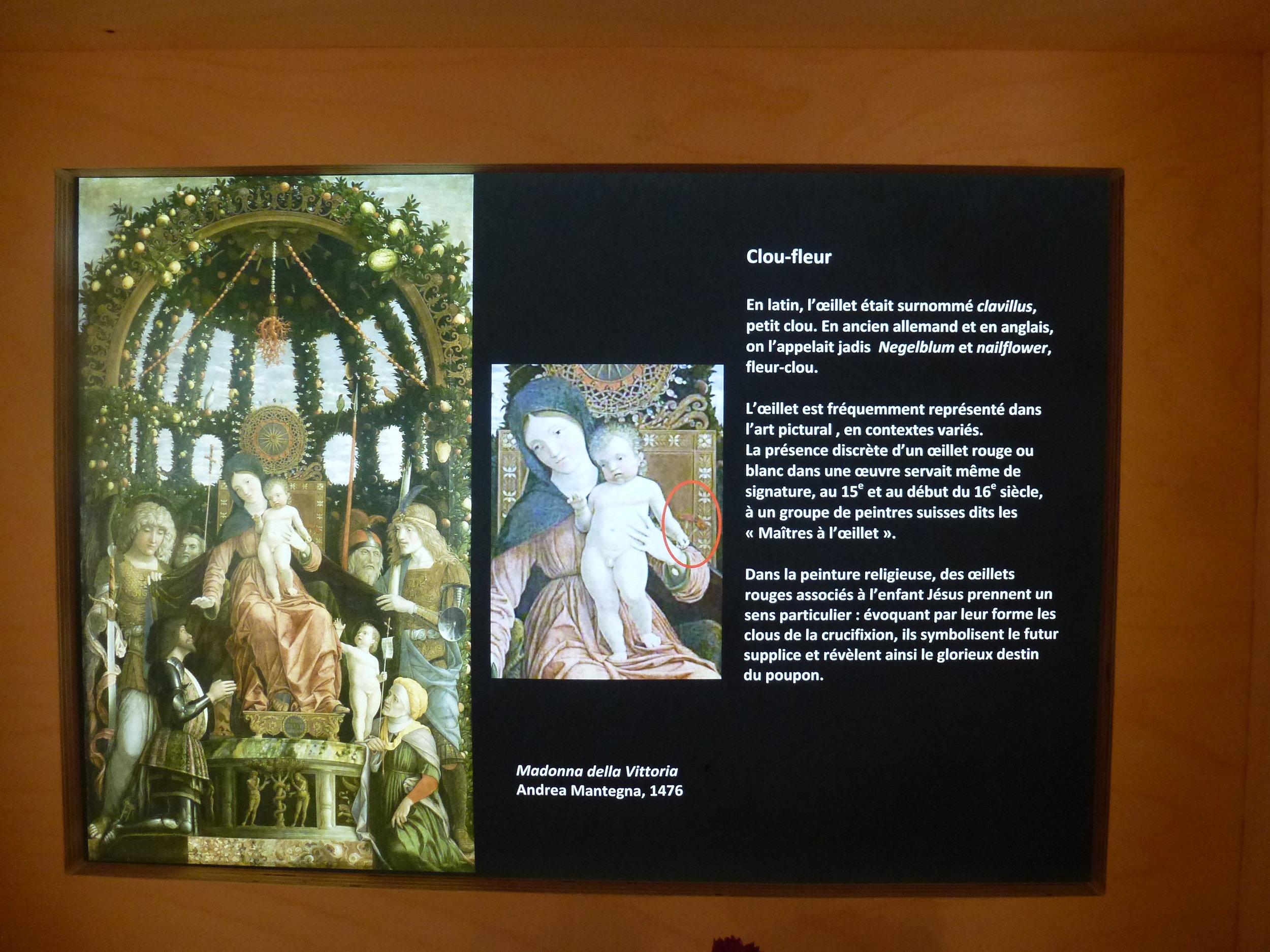 L'exposition interroge de nombreux thèmes, à l'instar de la représentation de l'enfant Jésus tenant des oeillets rouges à la main...