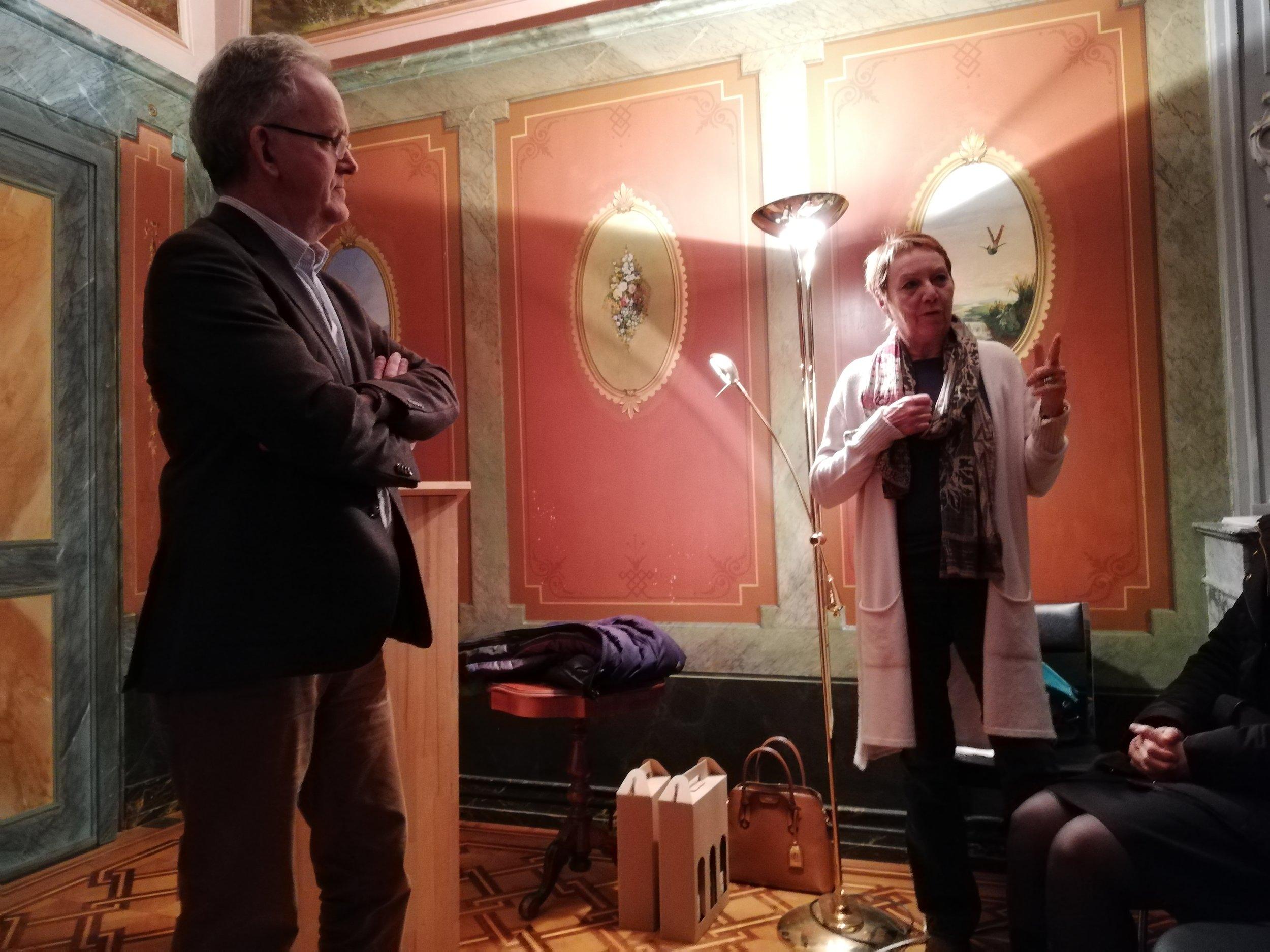 Nos deux orateurs de la soirée, Jacques Bujard et Claudine Cordey, que nous remercions encore chaleureusement.