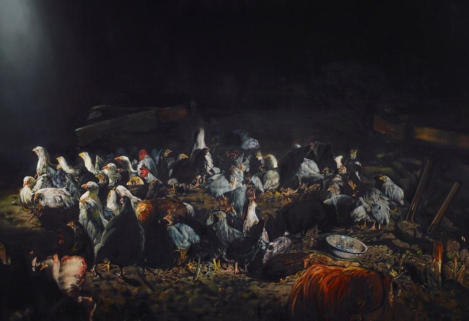 Léopold Rabus,  La nuée , 2014. Huile sur toile, 210 x 300 cm (détail)