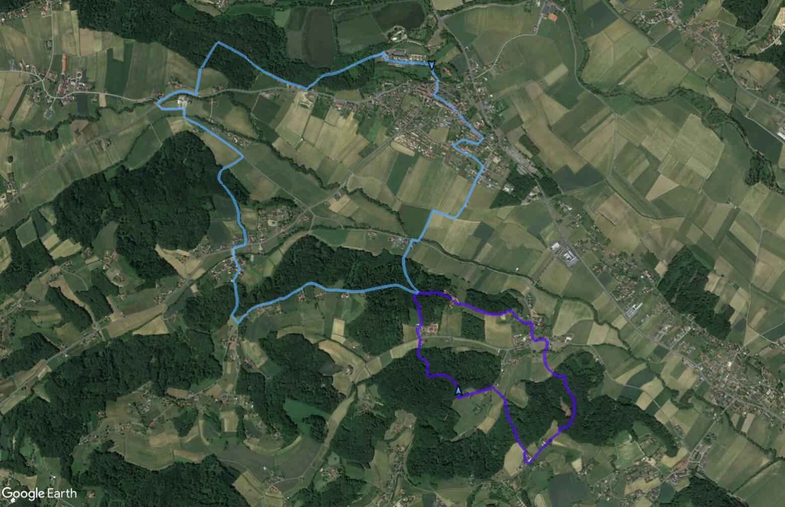 Kirchbergvitalweg:  Ortsrunde | hellblau  und  Bergrunde | violett  in der Draufsicht (z um Vergrößern anklicken)