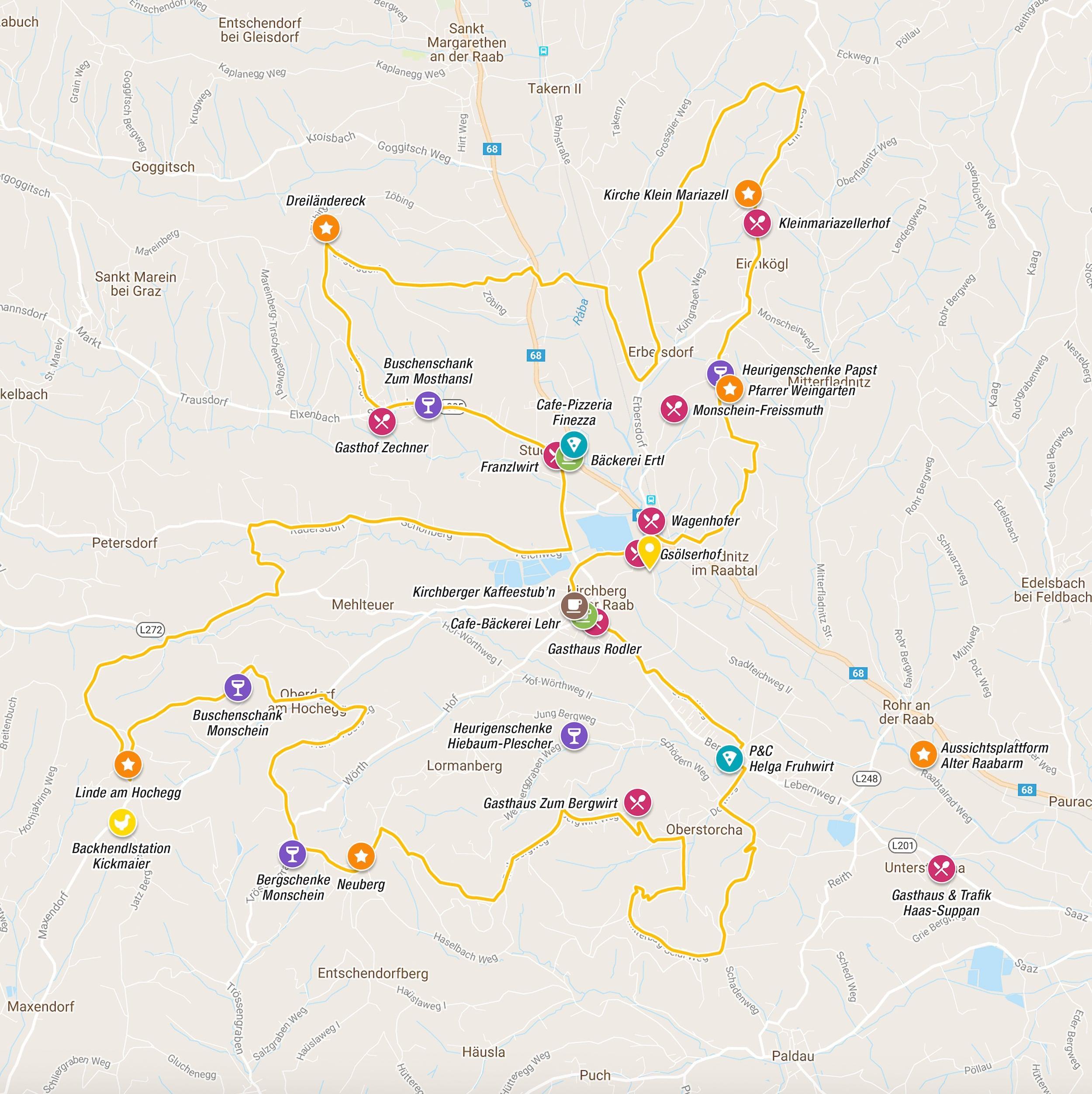 Vitalradeln Strecke:  Die Sportliche  (  Karte in eigenem Fenster öffnen   )