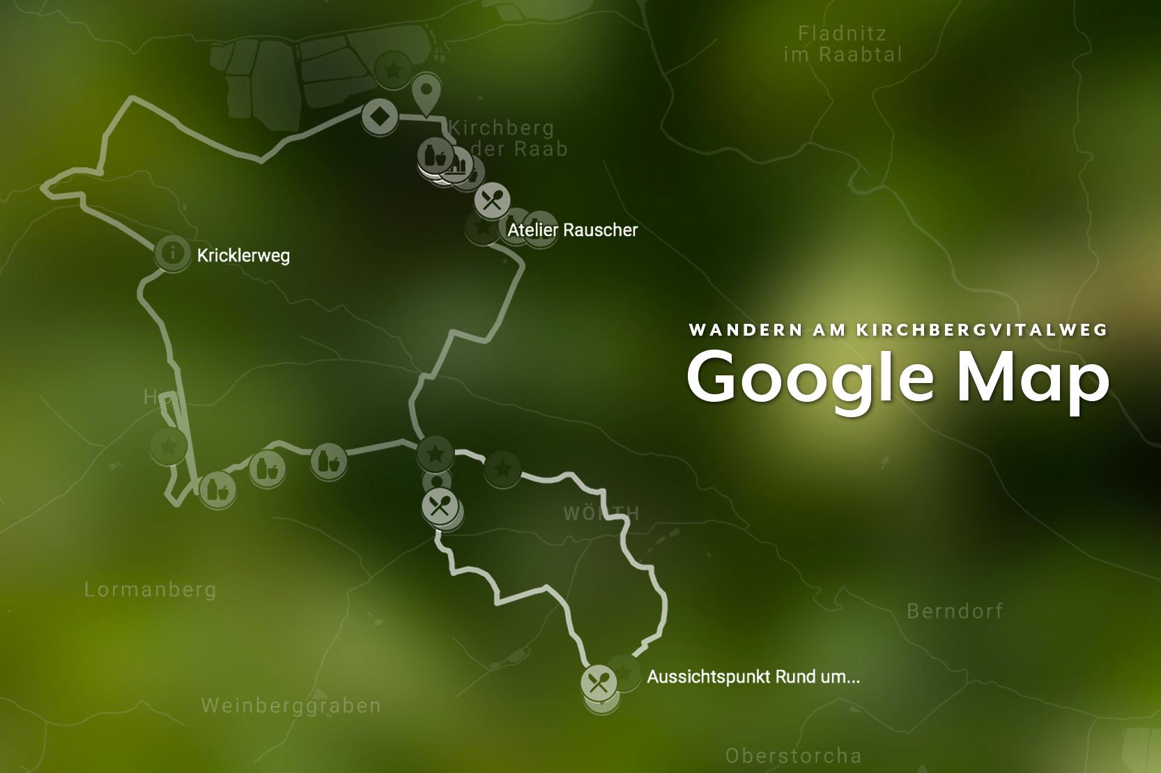 Kirchbergvitalweg Google Map - Unsere Google Map sorgt dafür, dass du die beiden Wanderwege des Kirchbergvitalweges immer auf deinem Smartphone dabei hast - inklusive aller Einkehrmöglichkeiten und Points of Interest!Klicke oder tippe auf die bunten Symbole, um mehr über die jeweiligen POIs zu erfahren.