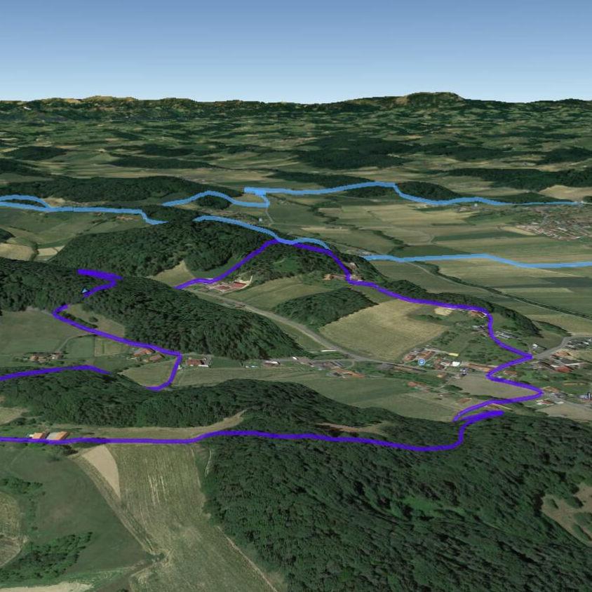 Klicke bzw. tippe auf auf die Karte, die unsere Galerie mit 3D Ansichten zu öffnen.  Ortsrunde  =  Türkis ,  Bergrunde  =  Violett