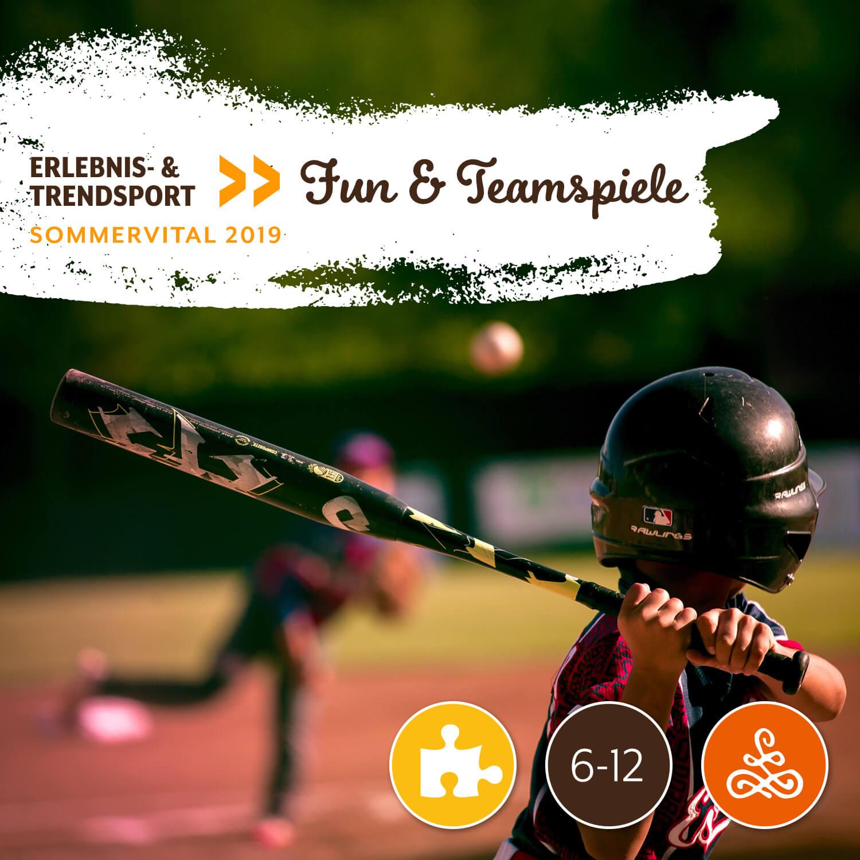 Fun & Teamspiele - Wann: 18.8.2019 | 9:00 - 11:30 UhrWo: Sportplatz NMS KirchbergMit: Marcel Holzer | DSG-KirchbergAltersgruppe: 6-12 JahreTeilnehmerzahl: 16Unkostenbeitrag: € 0