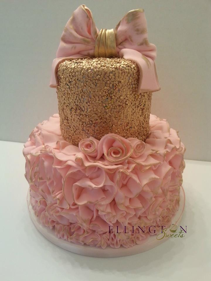 Sequins and Pink ruffles baby shower cake.jpg