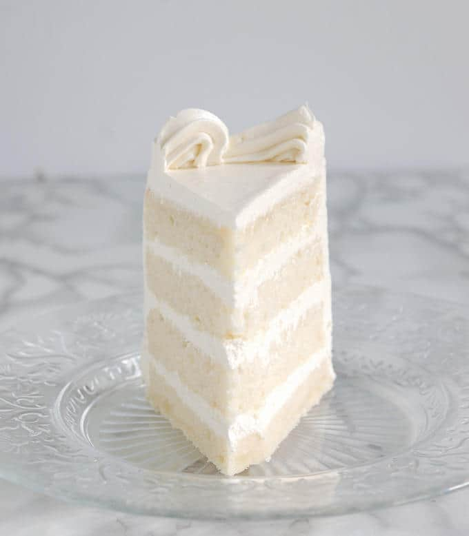 White Almond Cake  Our classic sour cream almond cake with almond buttercream frosting.
