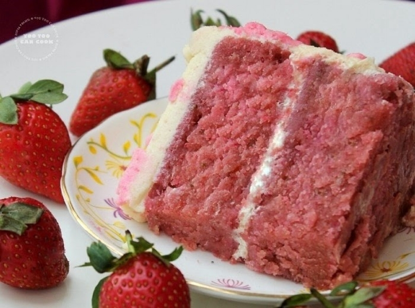Strawberry Cake  Moist strawberry cake filled with strawberry buttercream.