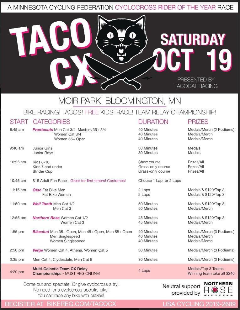 Taco Cat CX: 10/19