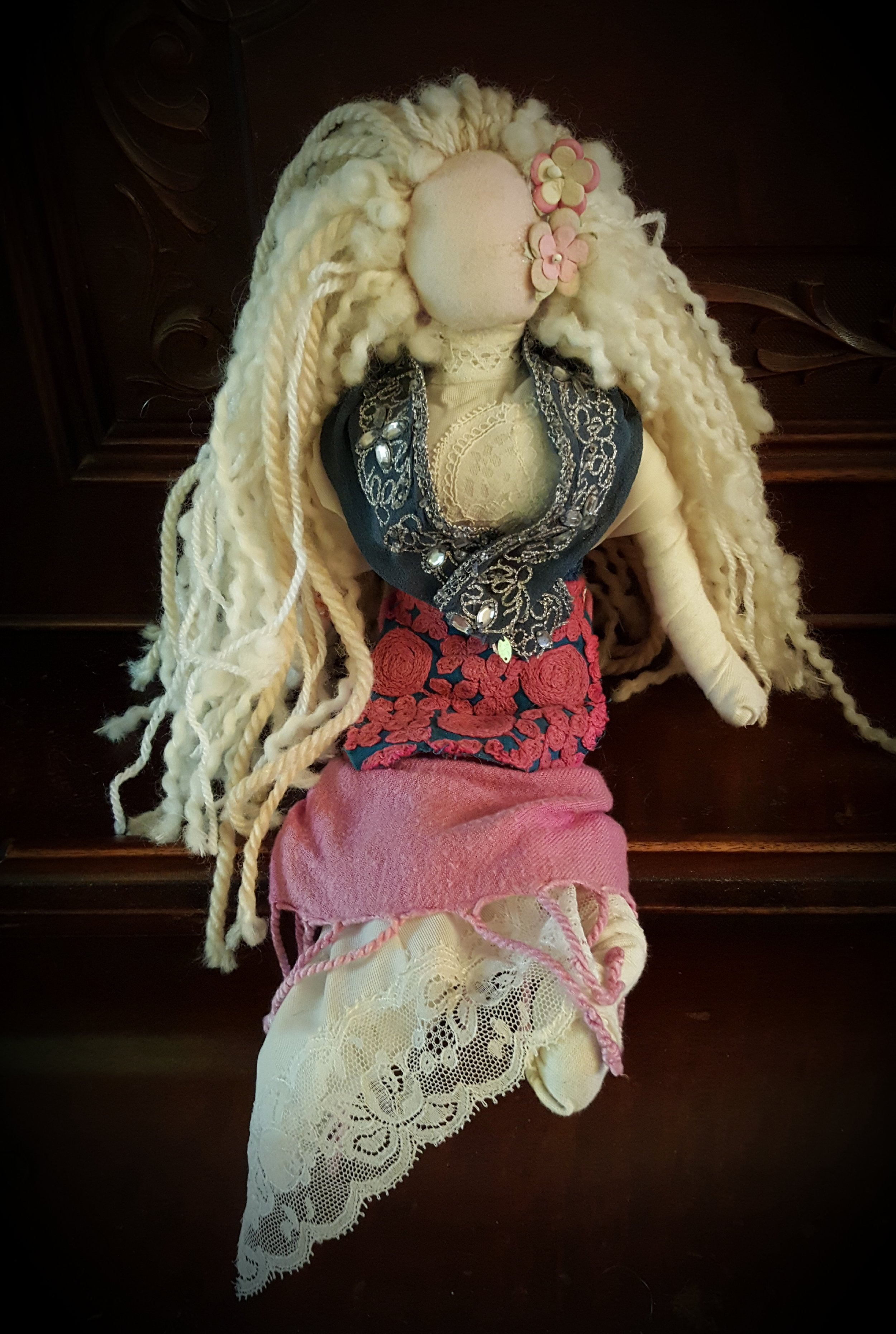 For Kathy - I made this doll for my friend Kathryn Aitken in 2011. Kathy is an incredible women who's been instrumental in co-creating the Transition NDG network. She inspires me with her dedication to creating community resilience and her gift of bringing people together.