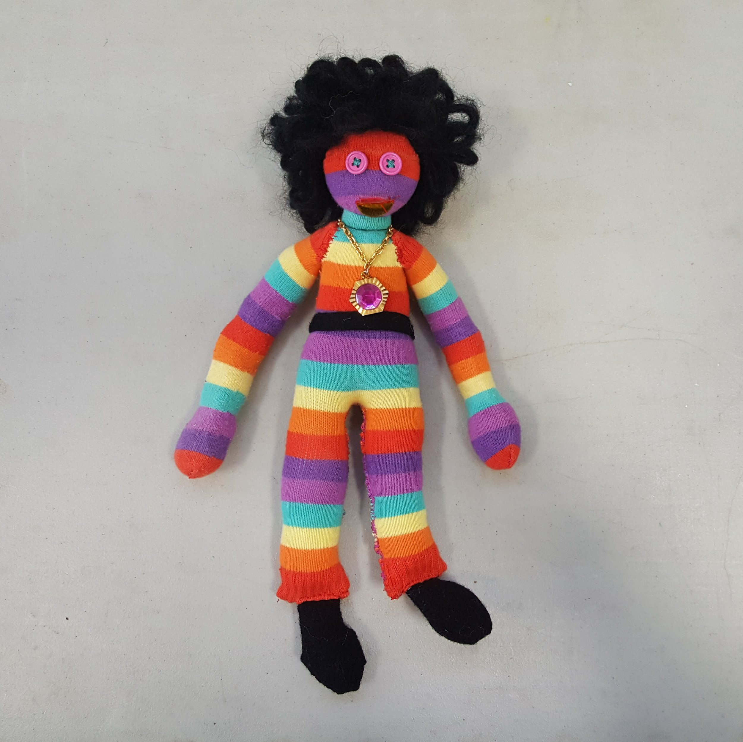 Disco Sly - I made this colourful character as a raffle prize for the TREATS & TREASURES craft fair.
