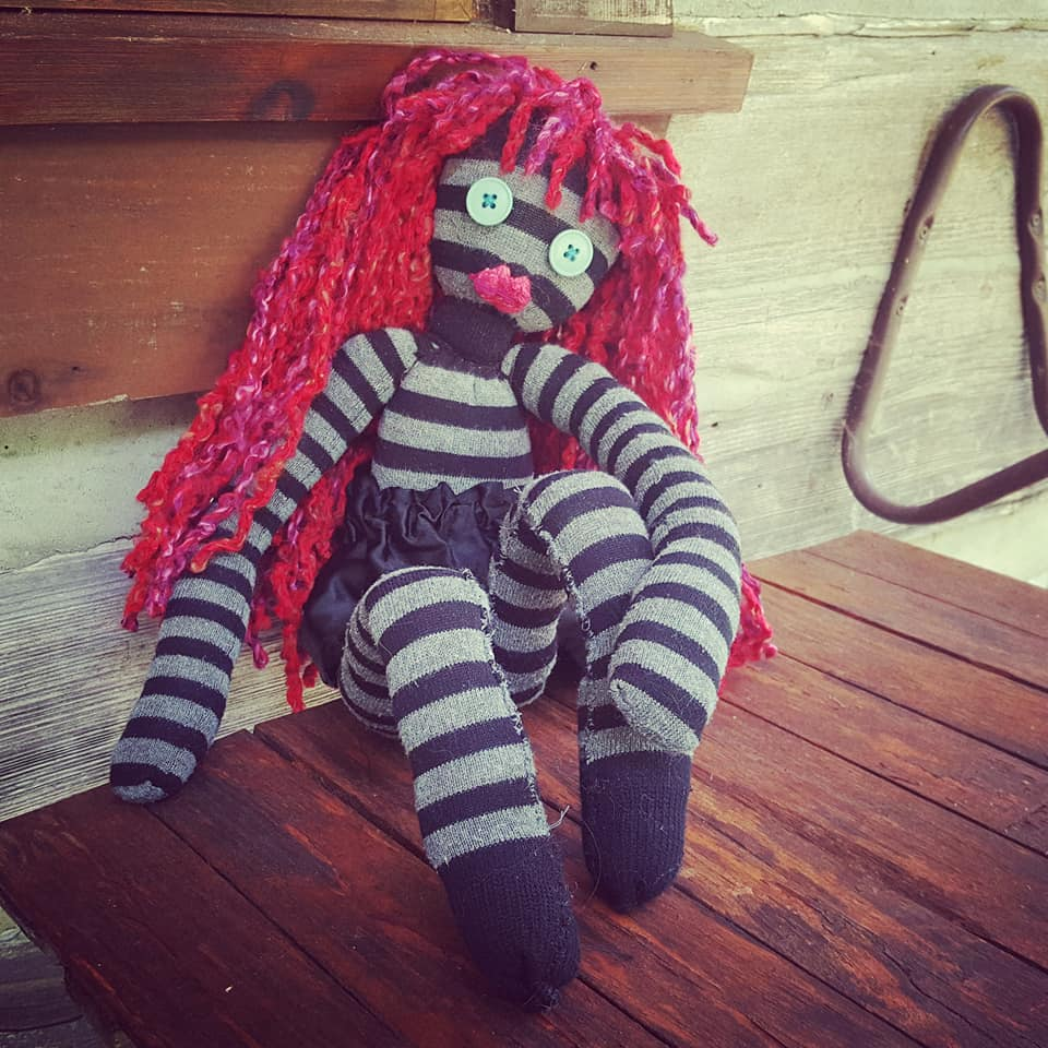 Carley the sock doll - My favourite thing to make with old socks. Love the sassiness of this creation!