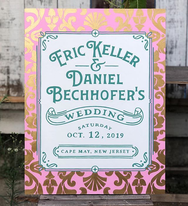 Hand painted wedding sign I did for @ericcameronkeller and @d.bechhofer Inspired by victorian ornaments and the bright playful colors of Cape May, NJ ✨ . . . . . . . . . . #typography #handlettering #lettering #type #script #typedesign #design #typematters #artoftype  #typespire #illustration #typegang #letteringco #designspiration #typetopia #typeverything #goodtype #thedailytype #50letters #thedesigntip