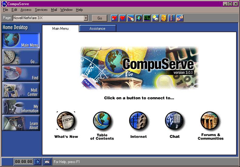 CompuServe, fondé en 1969, lançait déjà son BBS en 1978. La photo ci-dessous présente le portail accessible 20 ans plus tard.
