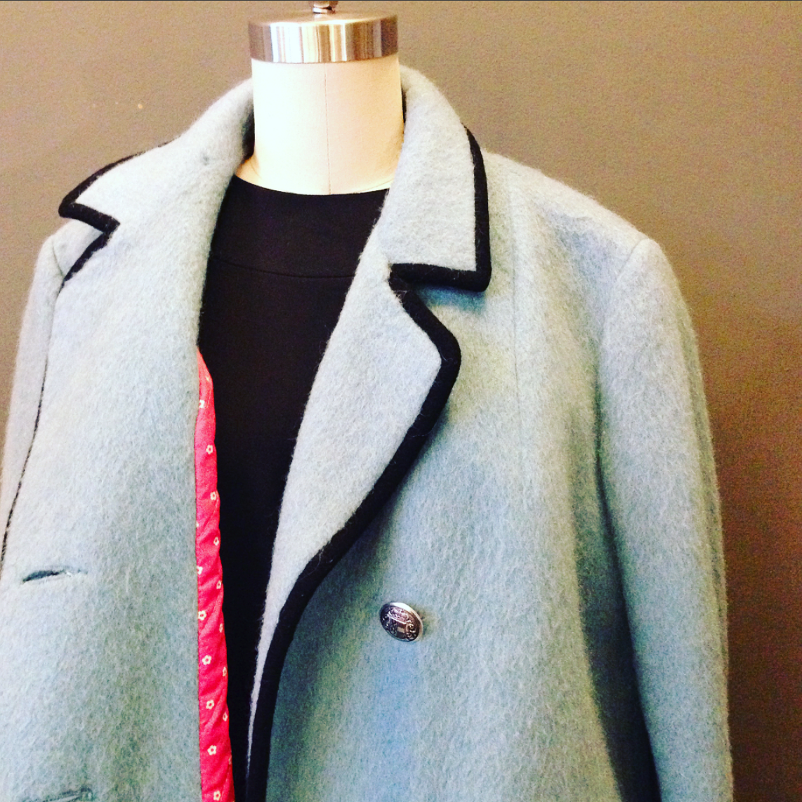 Pale Blue Mohair Vintage Coat