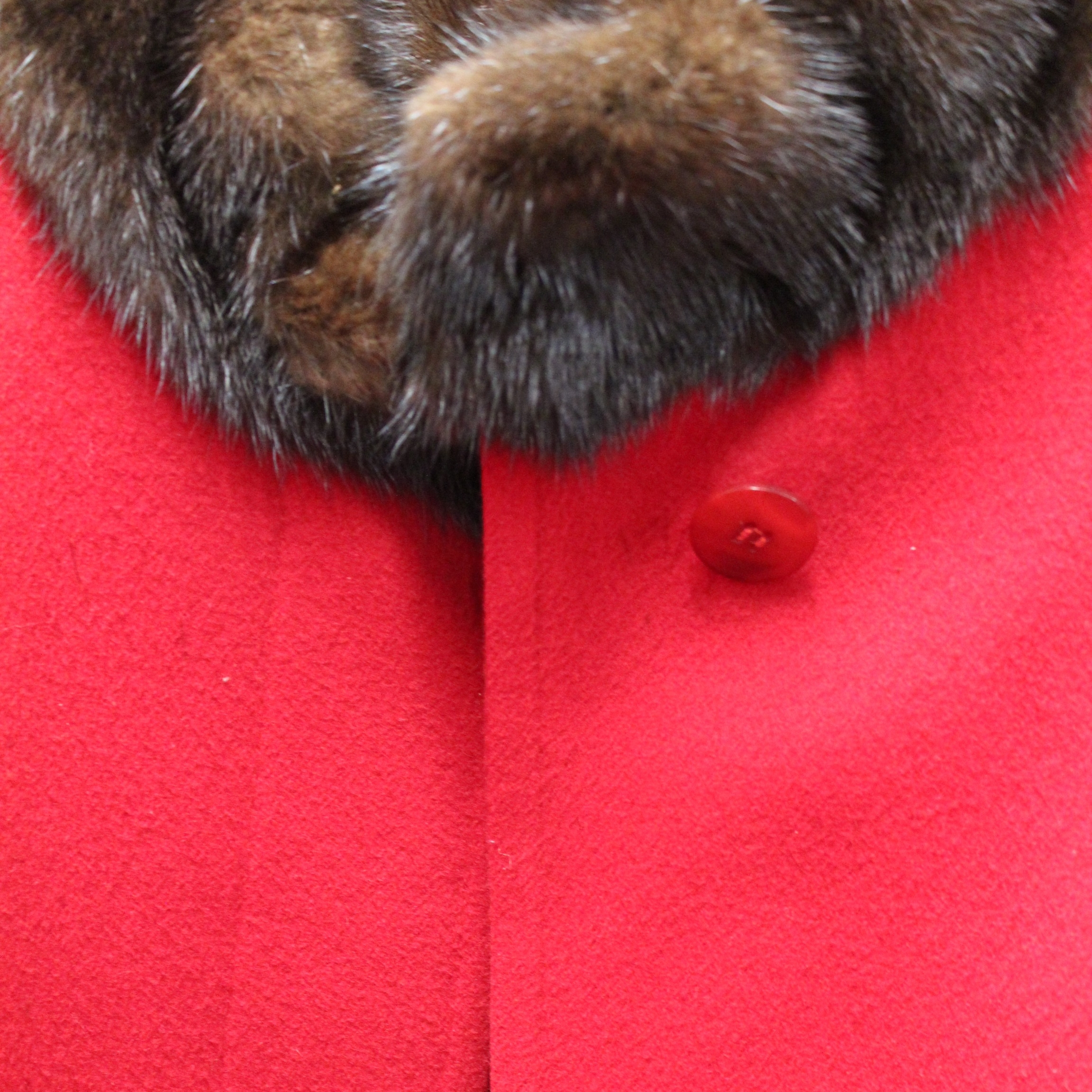 Fur Trimmed Red Vintage Coat