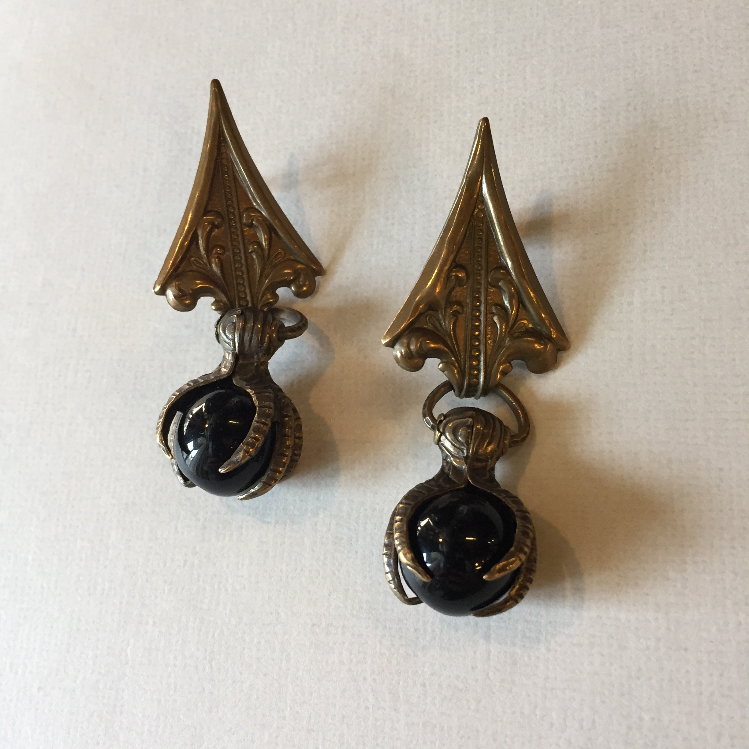 Vintage Earrings with Talons and Onyx Marbles