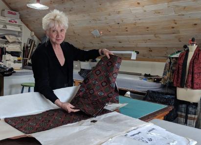 Susan in the SuMoNo Designs textile studio.
