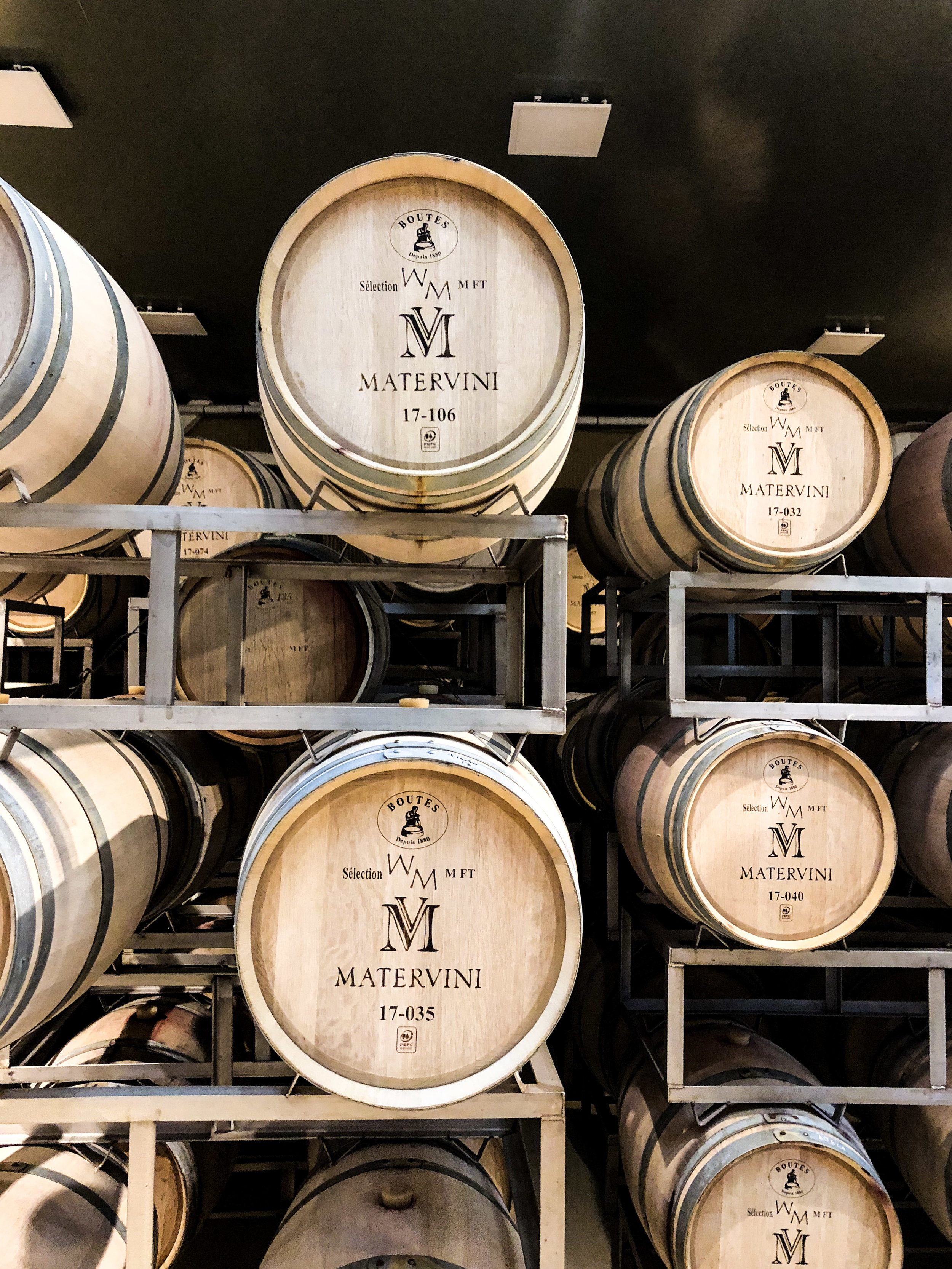 Barrels holding an exclusive batch of wine. Matervini produces only about 25,000 bottles per year and doesn't sell to distributors.
