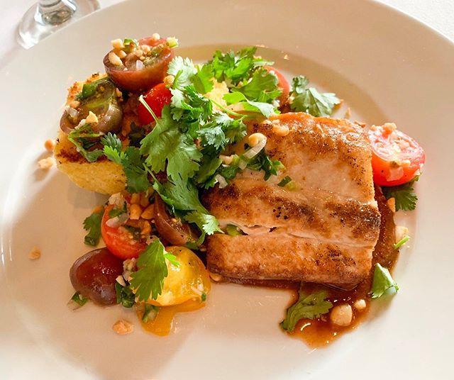 Mahi Mahi over grilled Cornbread , Mole sauce and Heirloom Tomato Pico de Gallo! See you tonight!