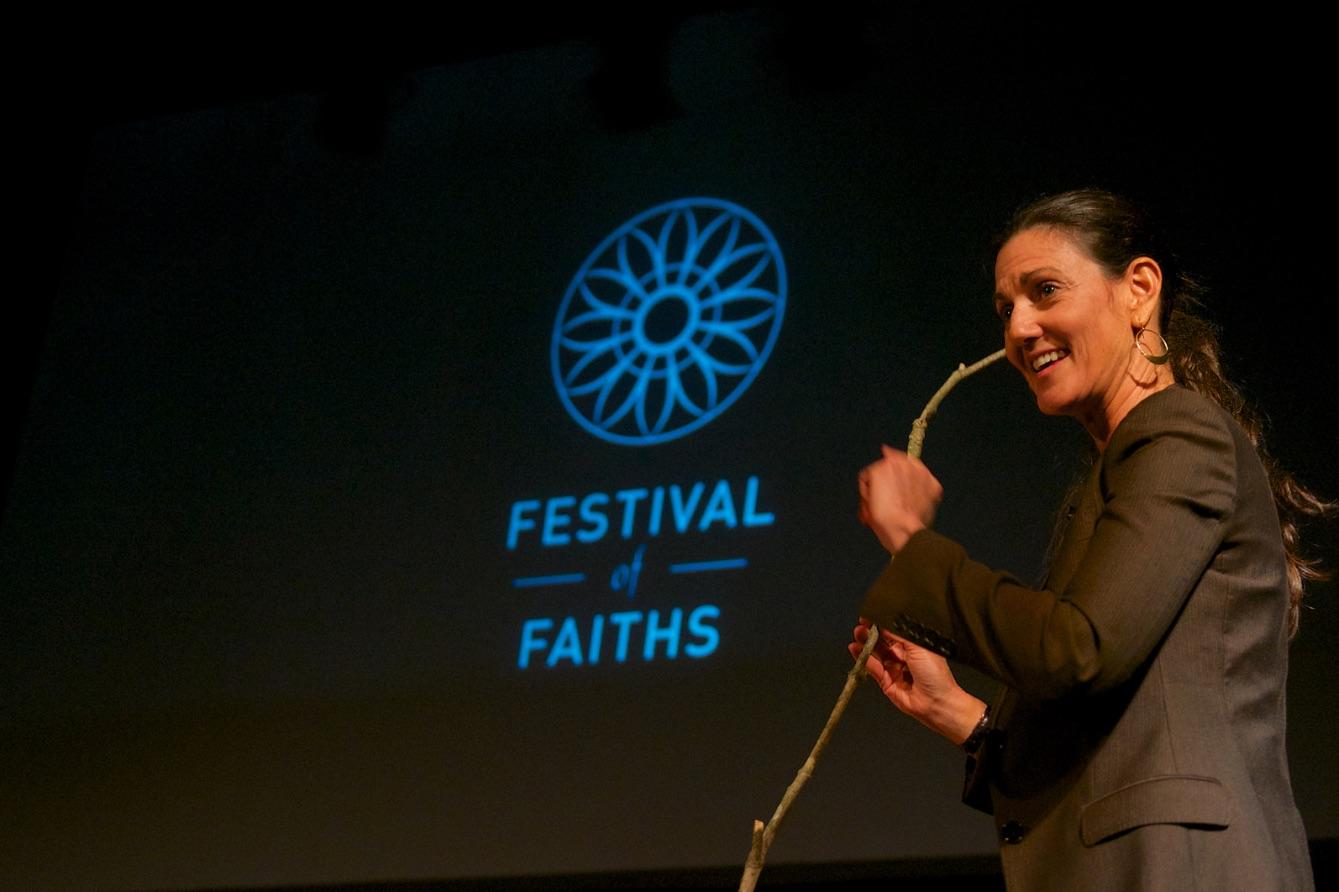 Elizabeth teaching interdependence at last year's Festival of Faiths