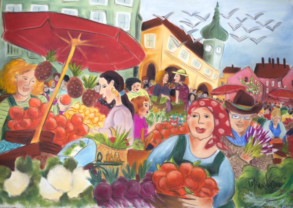 """Noon at the Market, 22"""" X 30"""" pastel on paper by T atjana Krizmanic"""