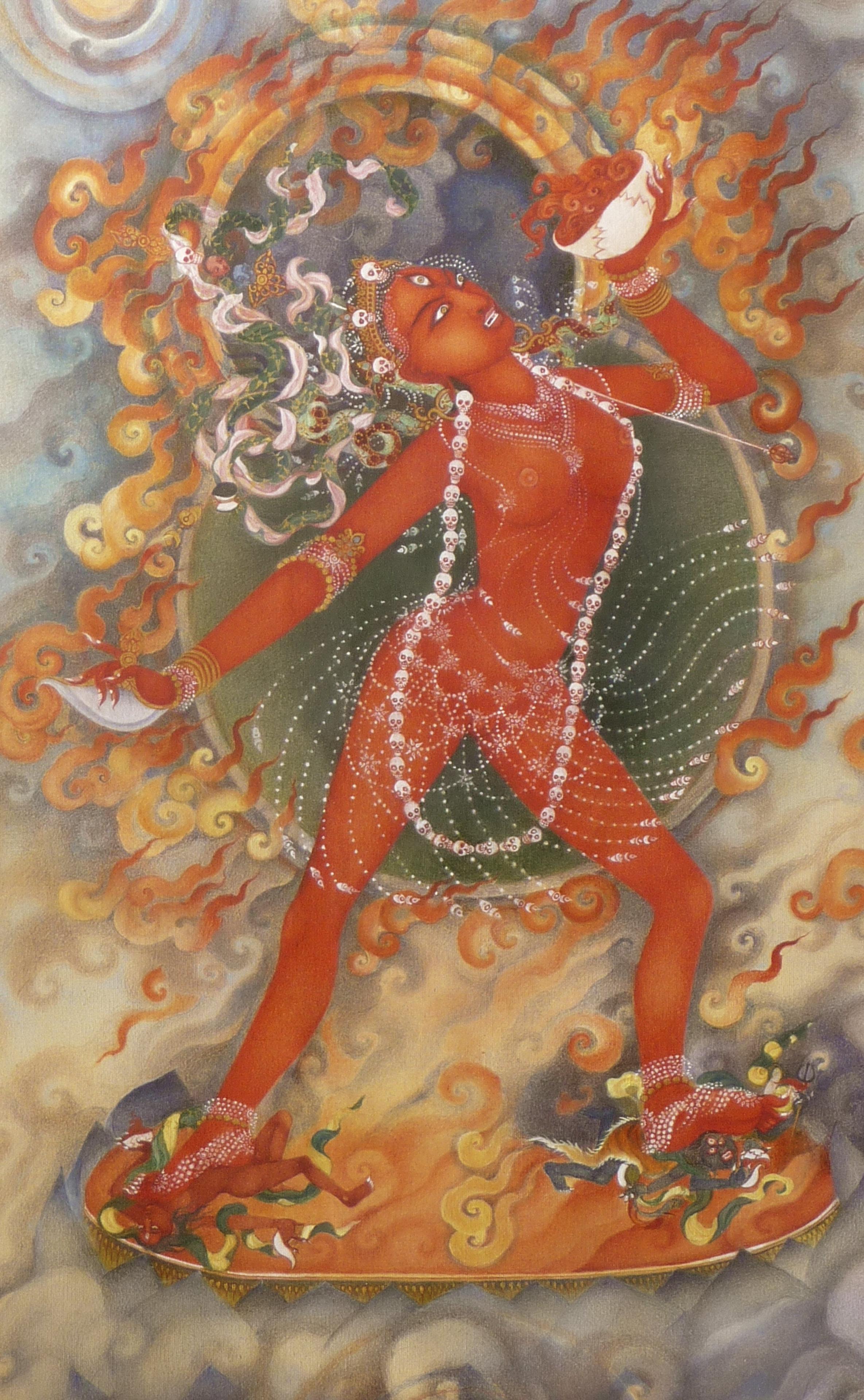 "Tara DiGesu  ,  ""Naro Kachoma""  , mineral pigments and watercolor on silk, 24cm X 39cm"