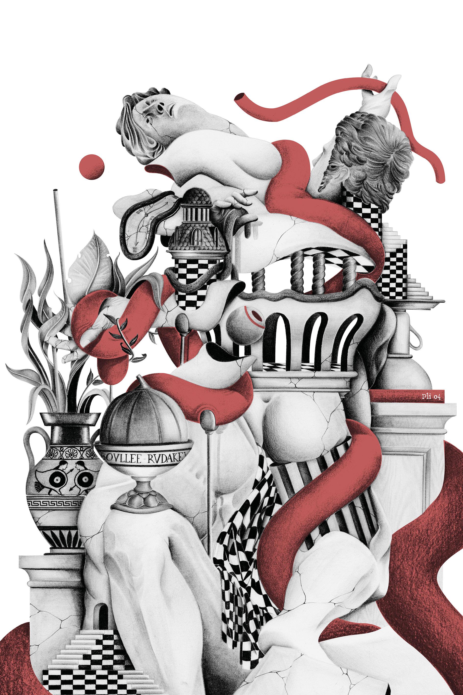 Illustration réalisée pour Pli 04 - Crayon à papier et colorisation numérique - Original 50x70cm