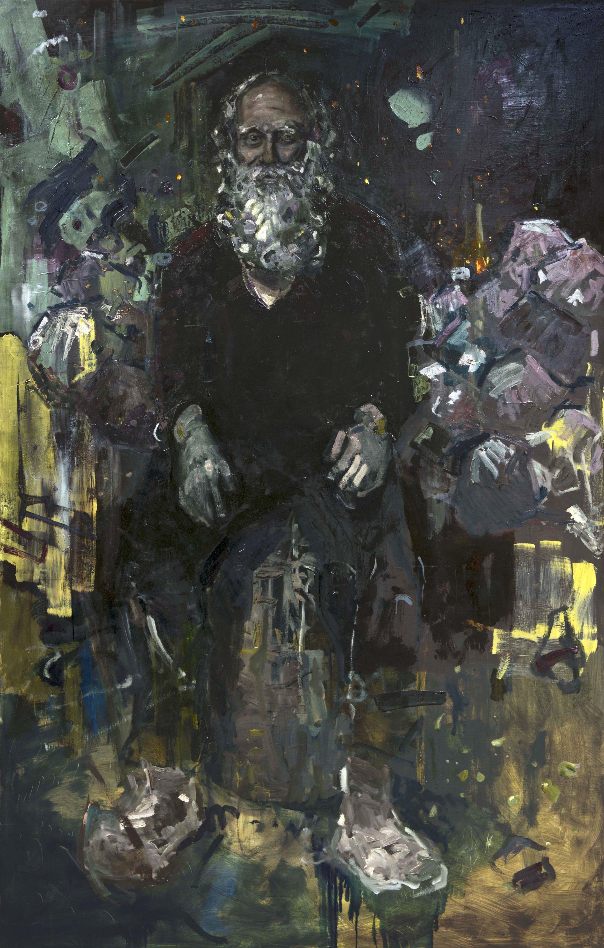 The Grey Man   oil on wood  48 x 75