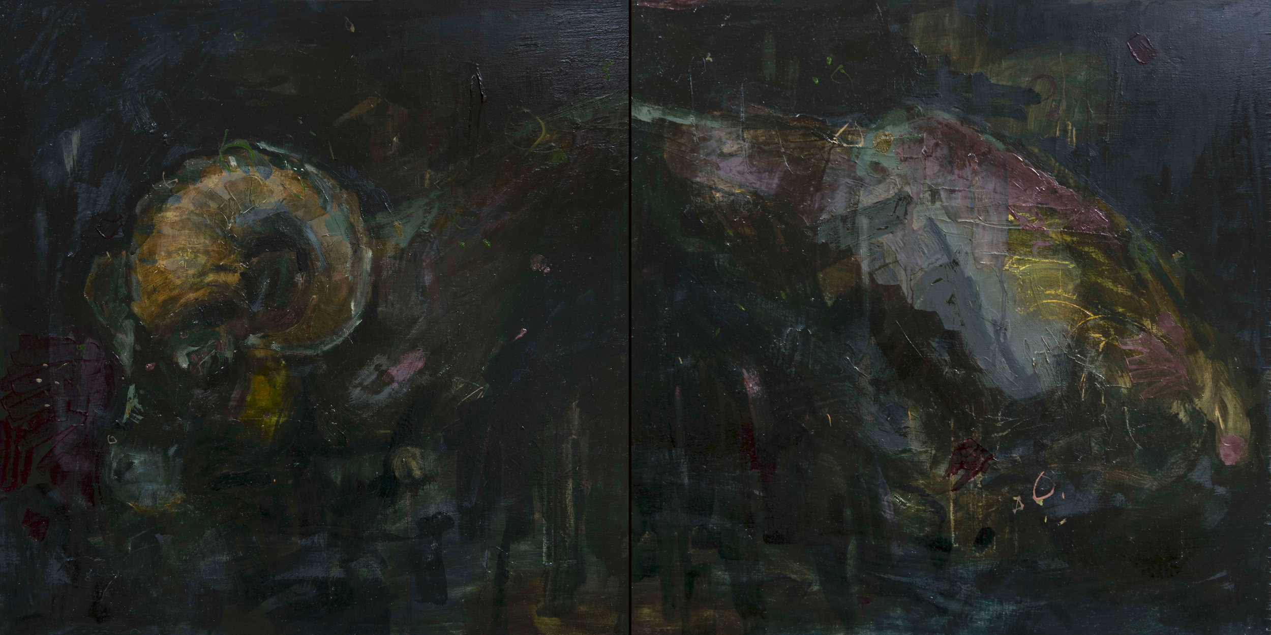 Covenant  (diptych)  oil on wood  48 x 24