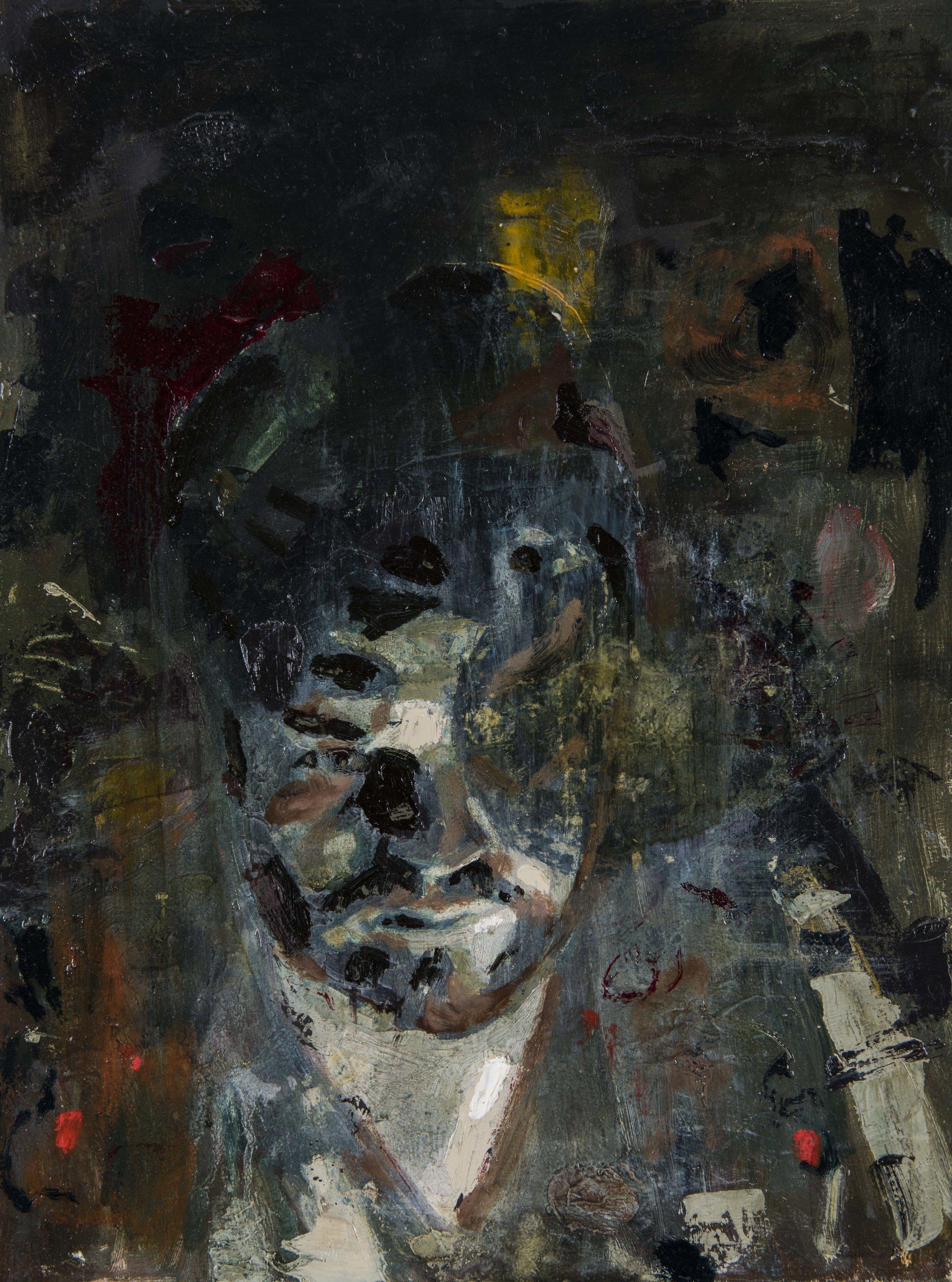 Untitled (self portrait)   oil on wood  12 x 16