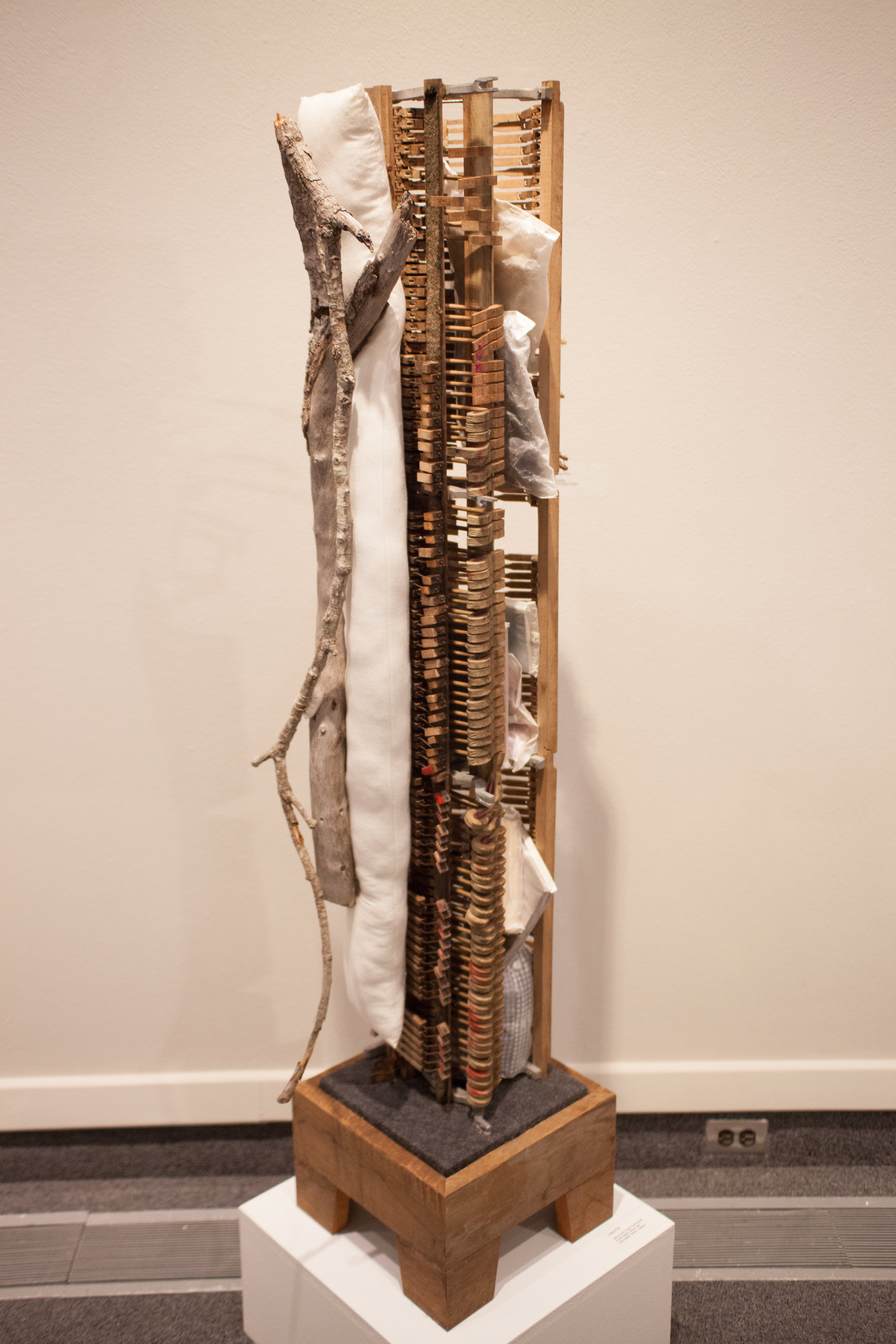 Cage and Beuys Rummaged   piano, wood, twine, branch, fabric, books, clothing, drawing, wax paper   13x61x13