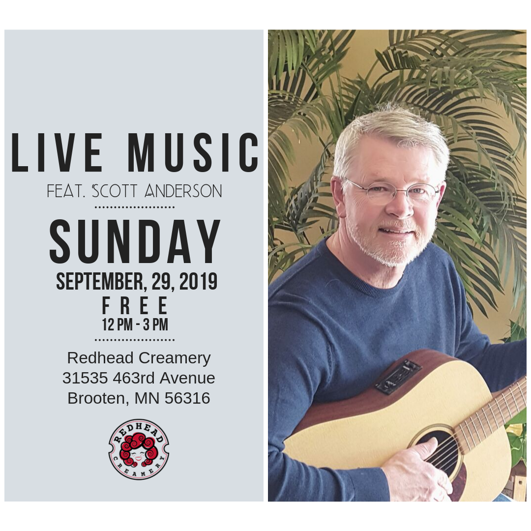 Join us this Sunday for live music by local blues and folk musician, Scott Anderson!   We'll be serving our regular menu items along with local alcoholic and non-alcoholic beverages. Bring your friends and family out for a fun day at the creamery!  No reservations or tickets required.
