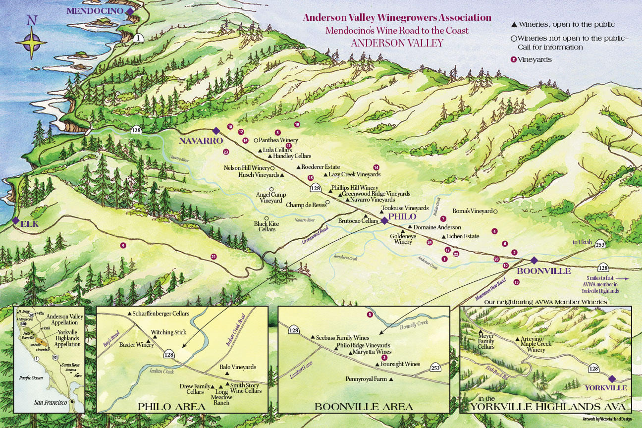 Anderson Valley Wine Road Map