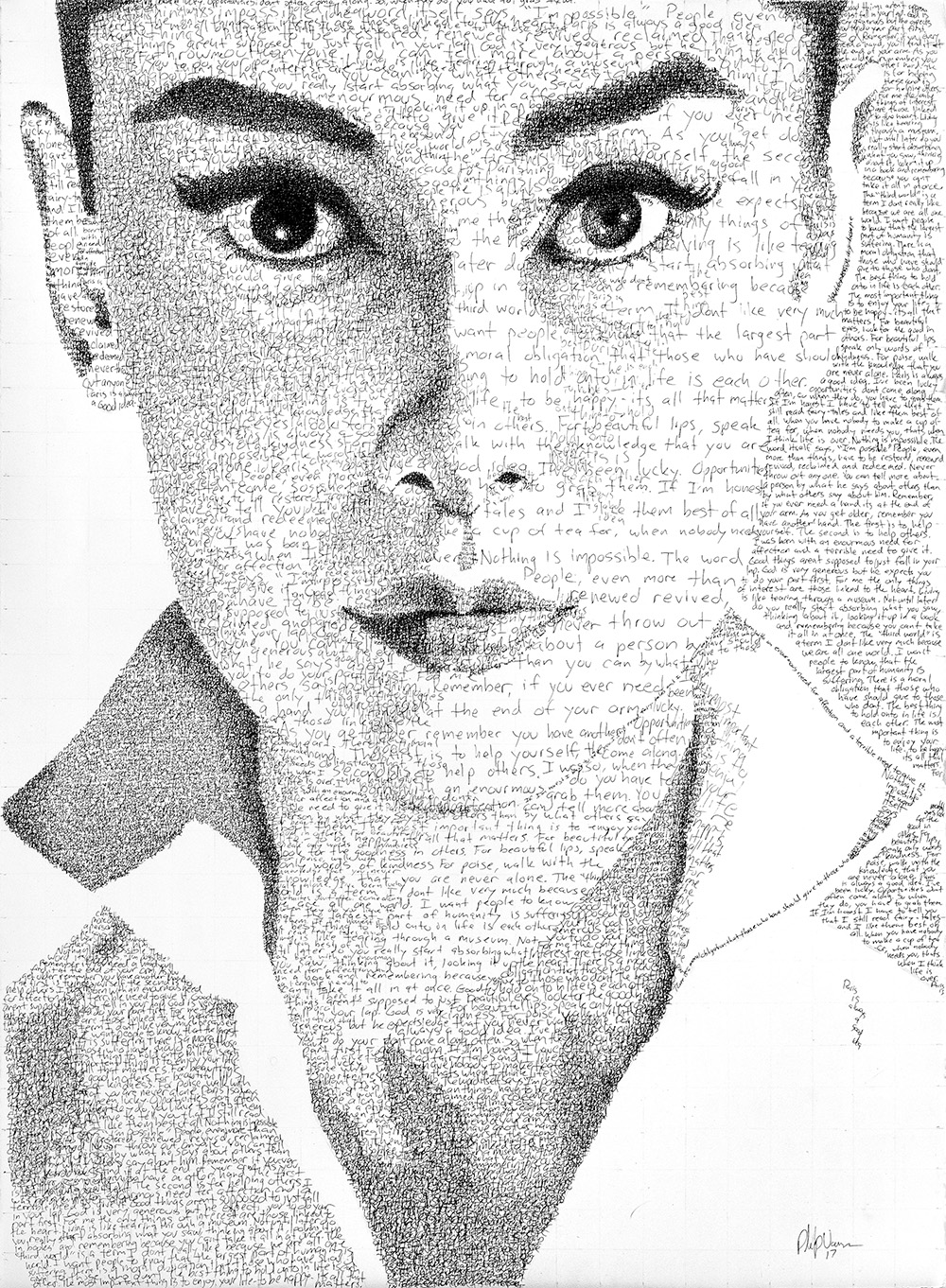 """Nothing is impossible, the word itself says 'I'm possible'!"" - Audrey Hepburn in Her Own Words (2017)Pen on Watercolor Paper, 22x30 in"