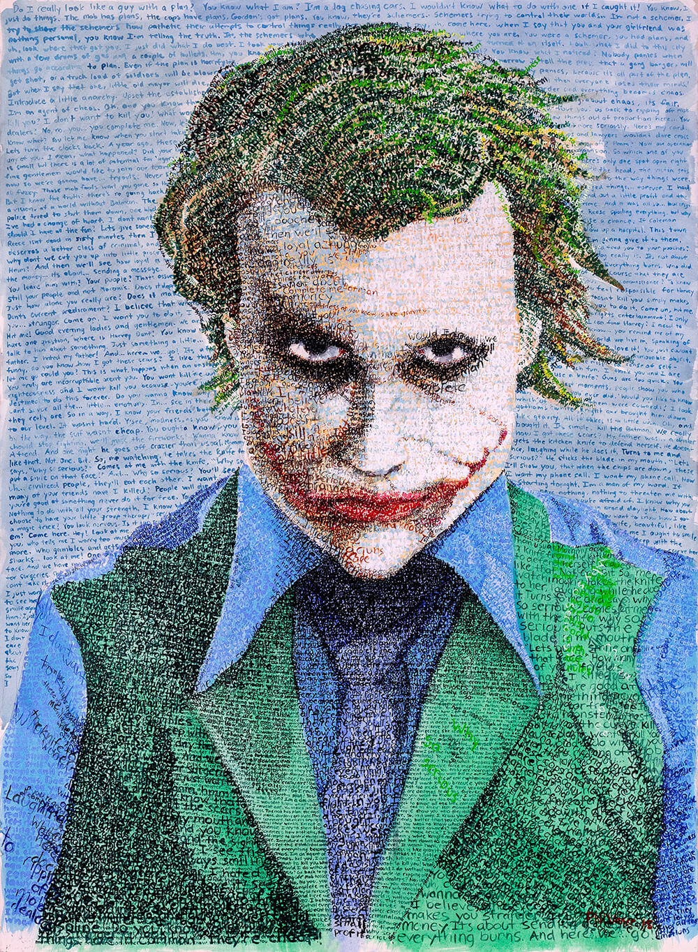 """Good evening ladies and gentlemen…"" - The Joker in His Own Words (2018)Acrylic Paint on Watercolor paper, 22x30in"