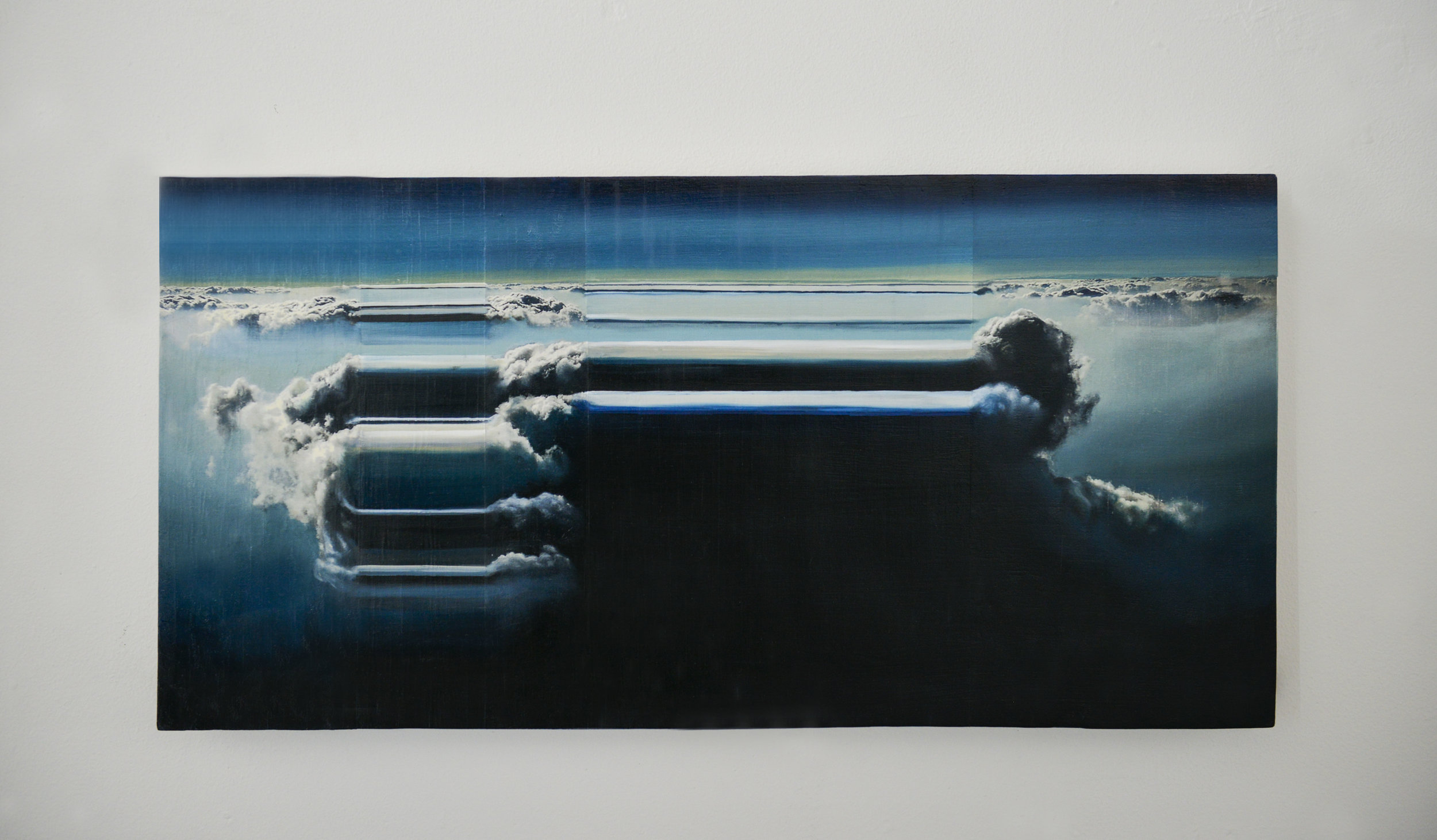 """Atmospheric Topology No. 3    2016      Oil and acrylic photo transfers on wood.  12""""x 24"""""""