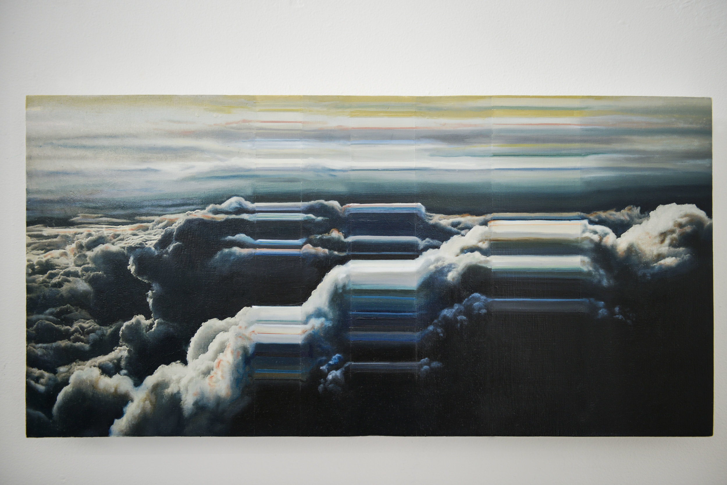 """Atmospheric Topology No. 1    2016      Oil and acrylic photo transfers on wood.  12""""x 24"""""""