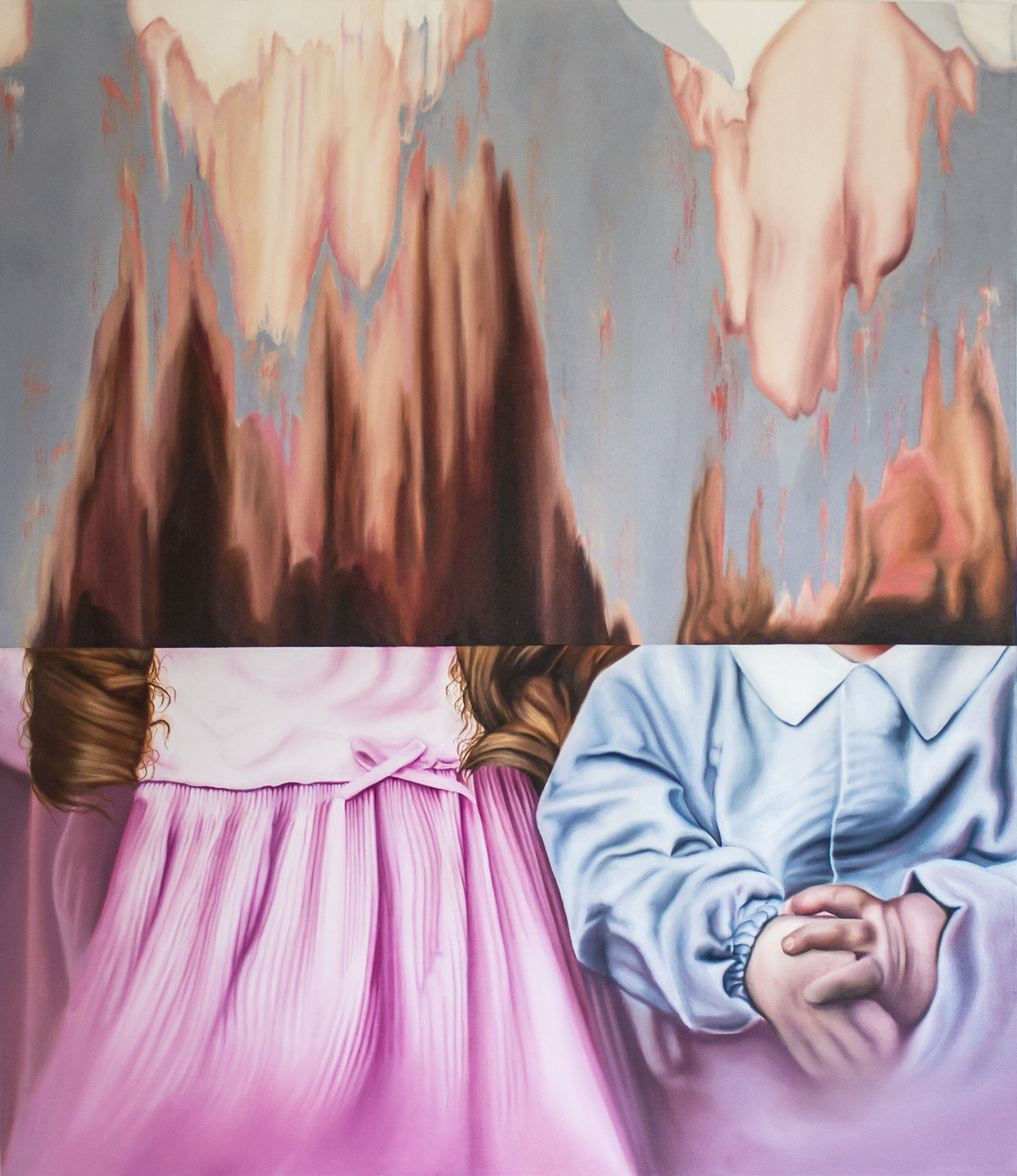 """Cut From the Same Cloth    2018.  Oil on canvas.  52""""x 44"""""""