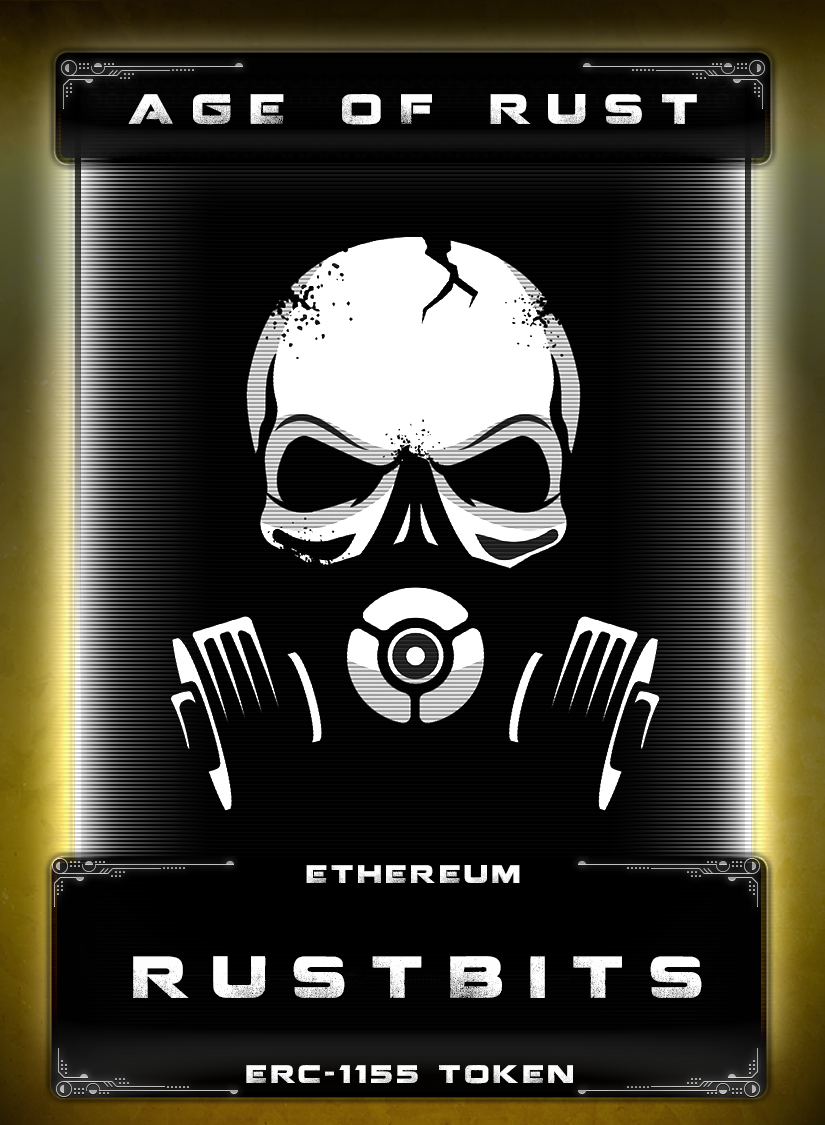 Rustbits - Rustbits are the main token of use within the Age of Rust game universe. You need Rustbits to not only play Age of Rust, but also to purchase in-game cryptoitems as well.Rustbits are radioactive rust scraped off of hulls of abandoned ships that are in orbit around a hidden planet, which is also a gas giant. The planet is so radioactive, it damages ships and kills anyone that gets close to it. Getting bits of rust off of ships is highly rare and prized.