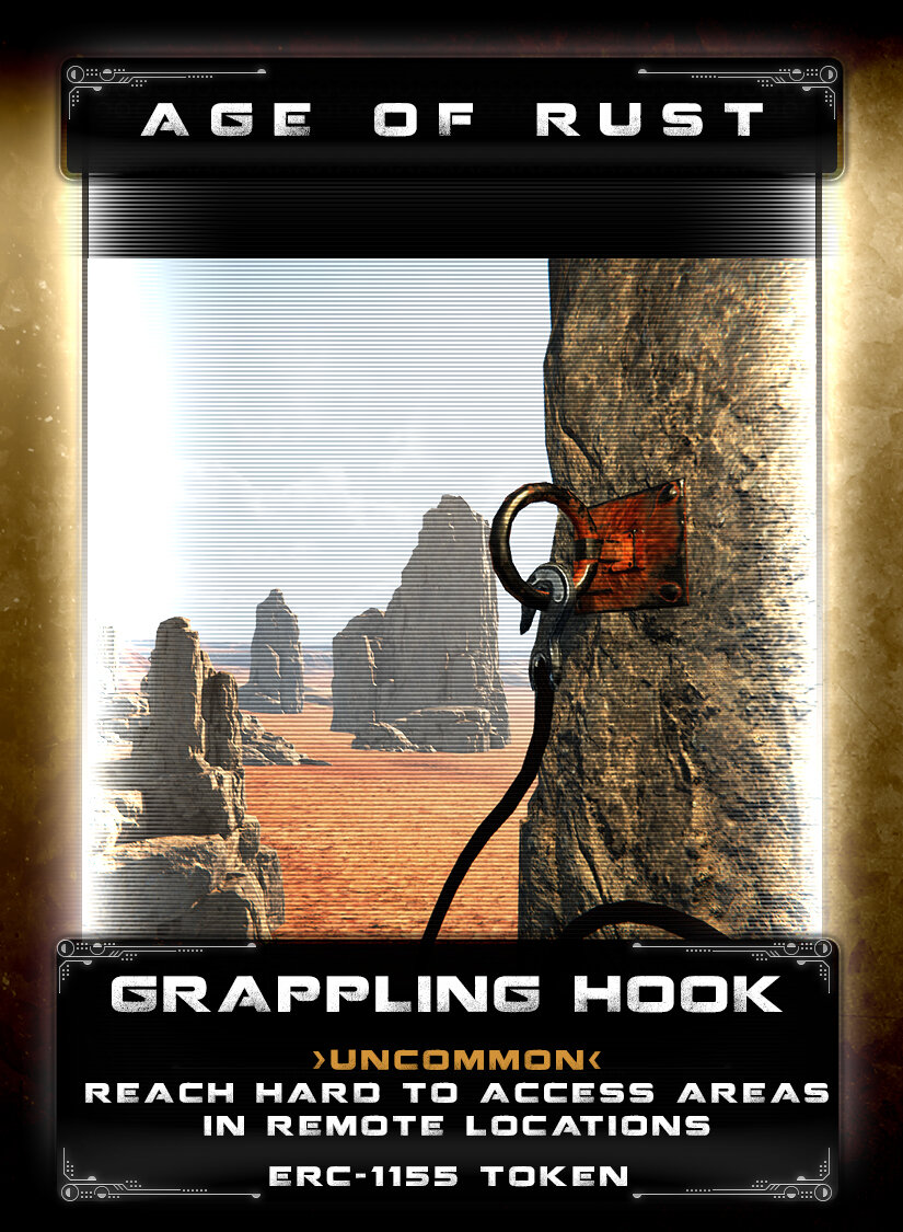 Grappling Hook - A shipment of mag-enabled grappling hooks and cables found it's way to an alley in NX City, these were quickly sold to those who sought a way to escape by using them to descend into tunnels below. However, those that escaped were double-crossed and the hooks were sold time and time again in a deadly profiting scheme. These grappling hooks automatically connect to mag rings when thrown near them and the cables are strong enough to allow you to zip-line across from ring to ring.