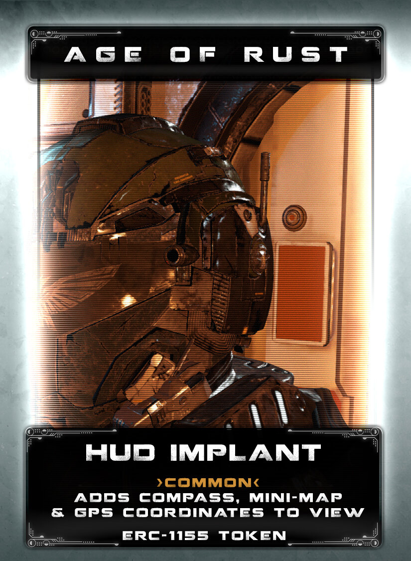 HUD Implant - The HUD implant was designed mainly for combat operations for front-line soldiers back in the early days of the uprising. Later, the implant found itself being used in multi-op scenarios and eventually found a second life with bounty hunters and pirates looking for sanctioned materials on exo-planets. The implant will give you a compass display, x,y,z coordinates, and a minimap of the local area. Items and places of interest will be marked with additional tracking beacons tied into the projections. Mech and equipment damage readouts may vary depending on the available sensors. The implant attaches to your optic nerve and receives signals from sensor packages attached to your other gear. Electrical disturbances may impact the HUD.