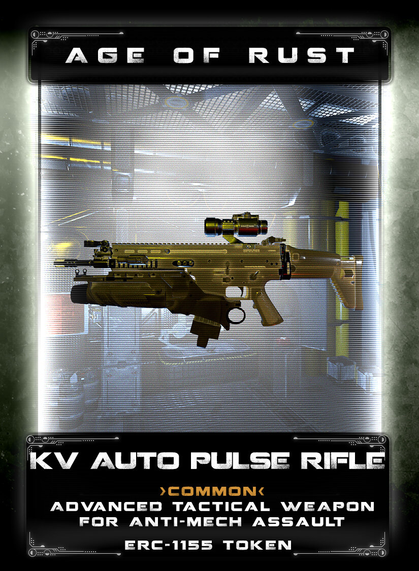 KV Auto Pulse Rifle - The KV Auto Pulse Rifle, manufactured by the Voltok corporation was designed for colony riot suppression. Later, it was adapted for Anti-Mech combat by the human resistance. Modifications included a sniper mode and heavier armor piercing round to penetrate Mech armor. The rifle fires a quick 5-shot pulse round mode or fully automatic mode with a 220 shot magazine, damage is 75 points per hit.