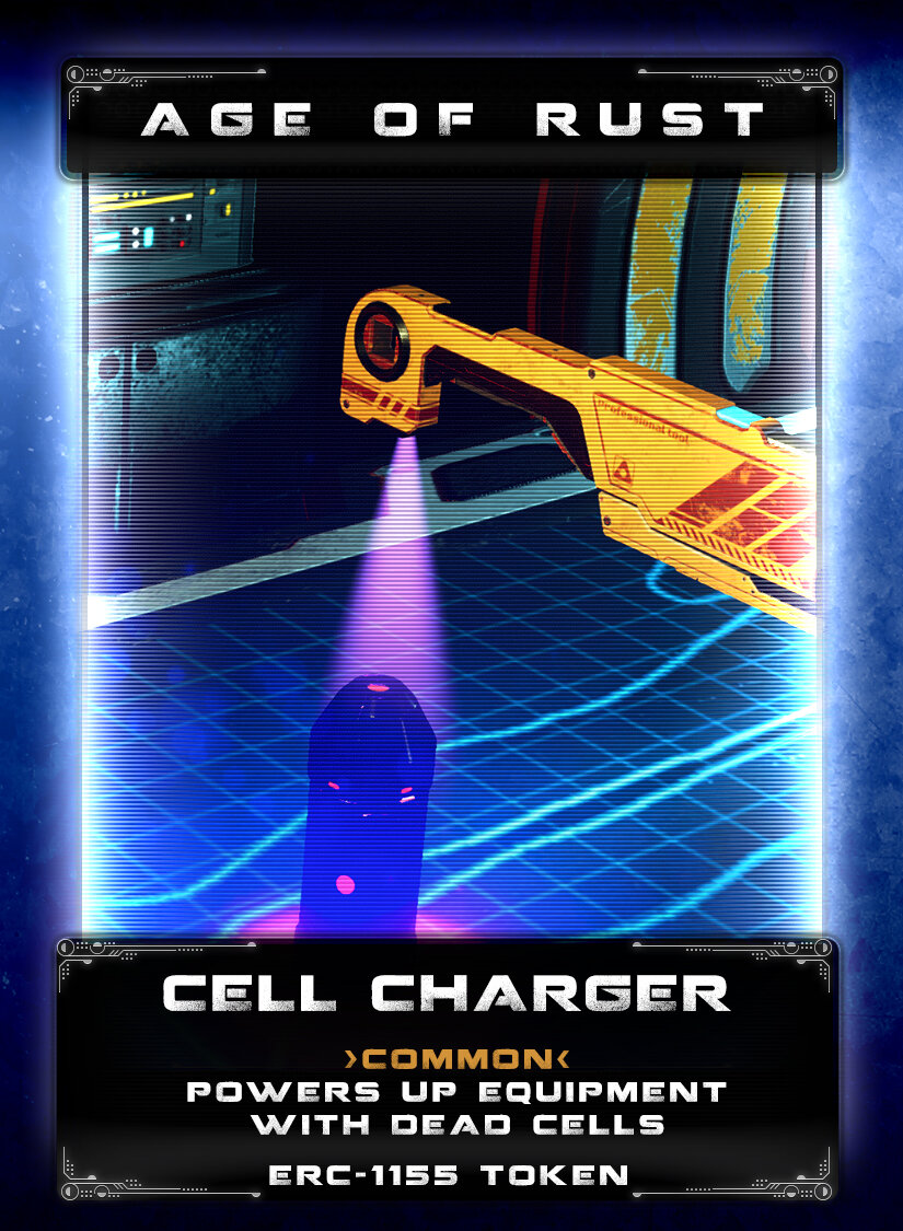 Cell Charger - Used by utility mechs to kickstart power cells on old ships adrift in space, these handy chargers can be used to energize dead equipment. As the Age of Rust wears on, all sorts of equipment simply dies, from power doors to lifts, the cells that have operated for hundreds or thousands of years just die out. A charger can quickly bring it back online if the dead cell is still viable.