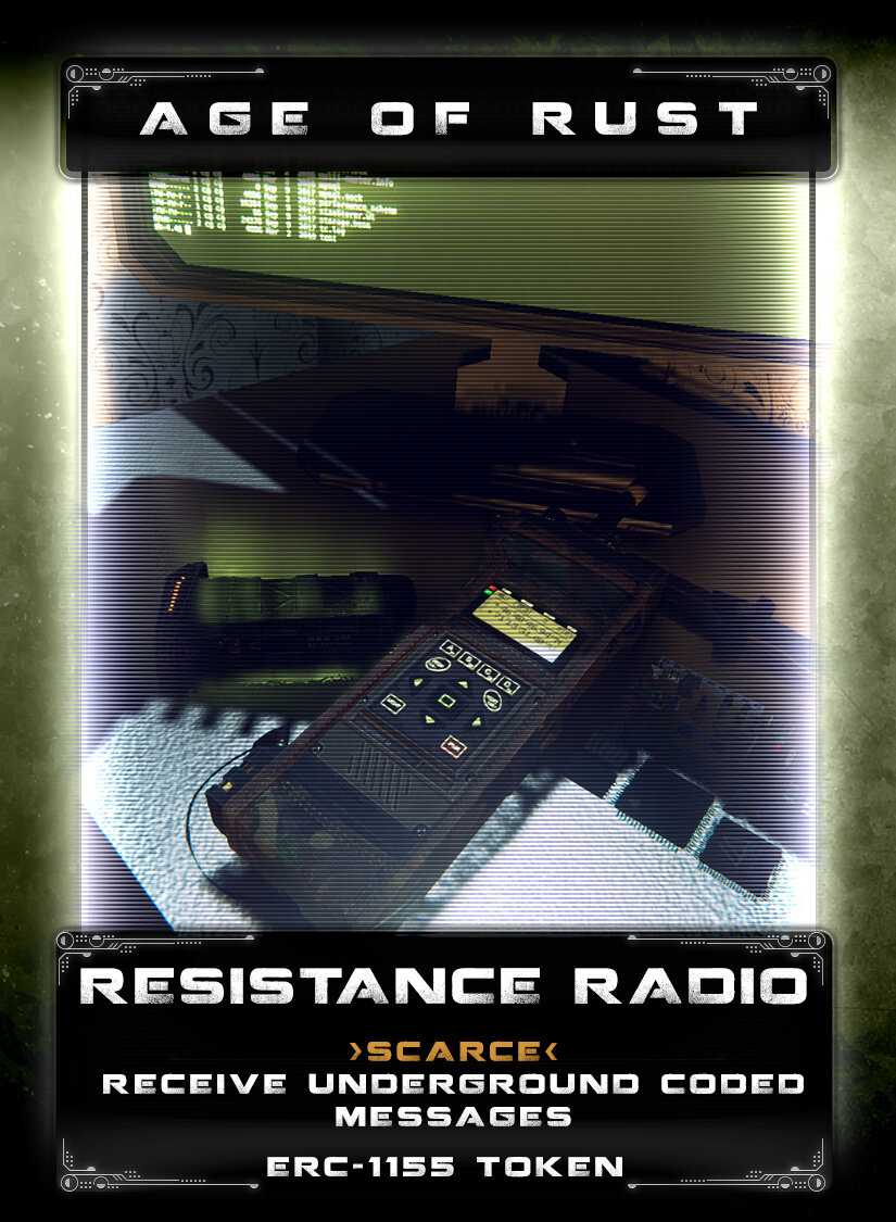 Resistance Radio - As the Mechs continue to scavenge parts and seek their own source code, the humans that are still alive and in hiding send coded messages to one another. The resistance radio picks up coded transmissions sent by humans to one another about secrets they've discovered. With this radio, you can pick up the frequency band they broadcast on and intercept the messages for your own purposes. The coded messages may lead you to treasure or lure you into a trap, the risk is yours to take.